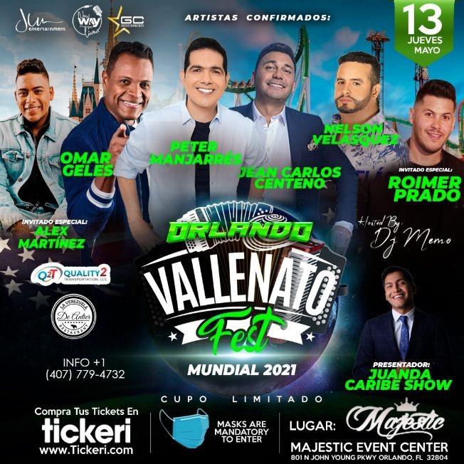 Flyer for Vallenato Fest USA 2021 ORLANDO - con Peter Manjarres, Jean Carlos Centeno, Omar Geles, Nelson Velásquez