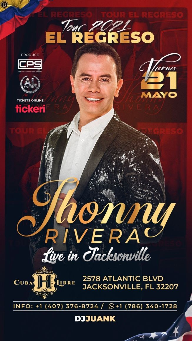 Flyer for JHONNY RIVERA EN JACKSONVILLE