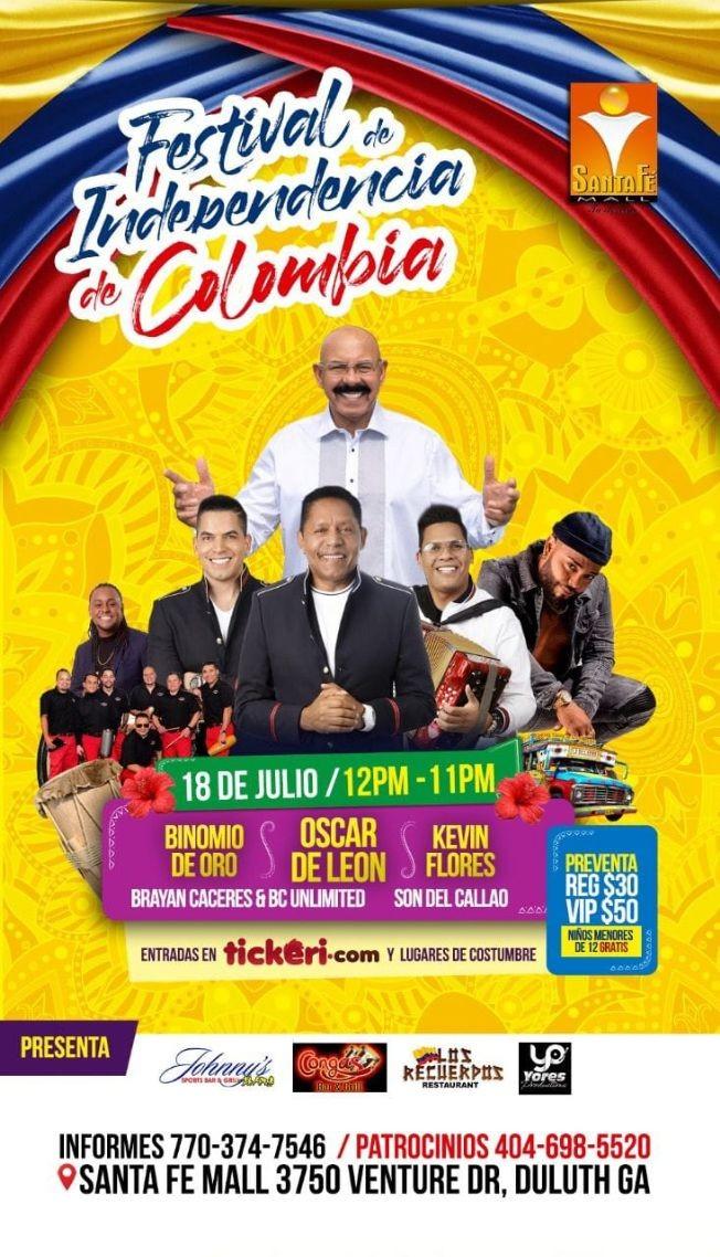 Flyer for FESTIVAL DE LA INDEPENDENCIA DE COLOMBIA 2021 EN ATLANTA