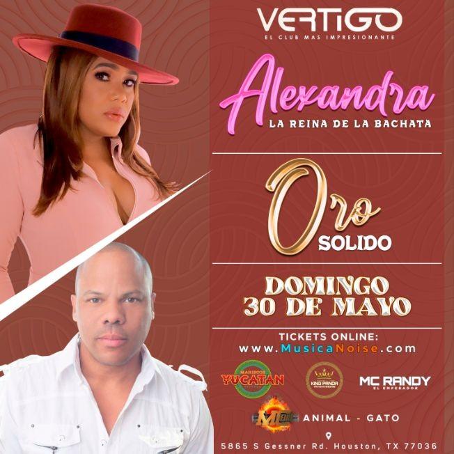 "Flyer for Alexandra "" La Reina De La Bachata "" & Oro Solido"