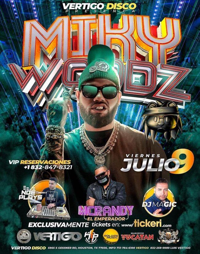 Flyer for Miky Woodz en Concierto en Vertigo Night Club!
