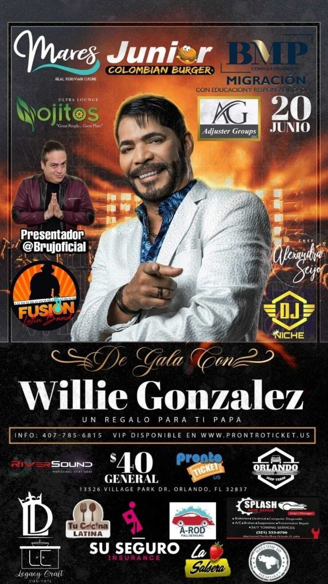 Flyer for De Gala Con Willie Gonzalez en Concierto!