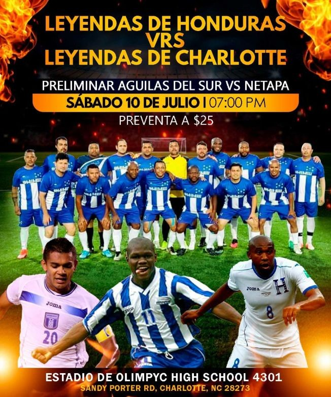 Flyer for Leyendas de Honduras vs. Leyendas de Charlotte, Preliminar Aguilas del Sur vs. Netapa