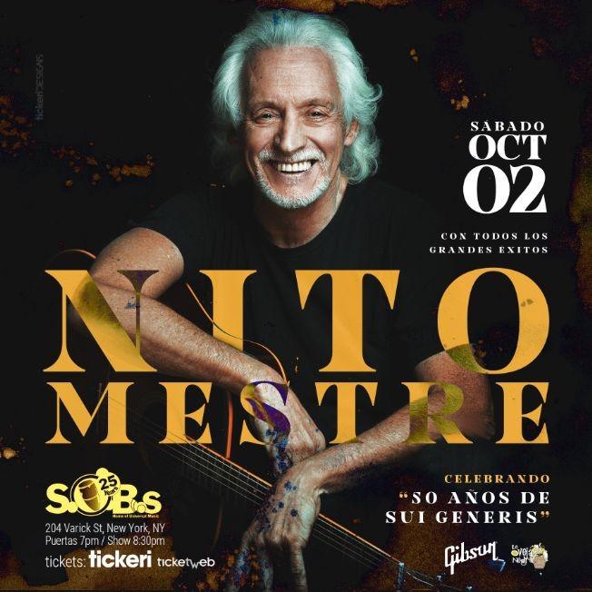 Flyer for Nito Mestre en New York (La Voz de Sui Generis)          New Date // 2 de Oct 2021