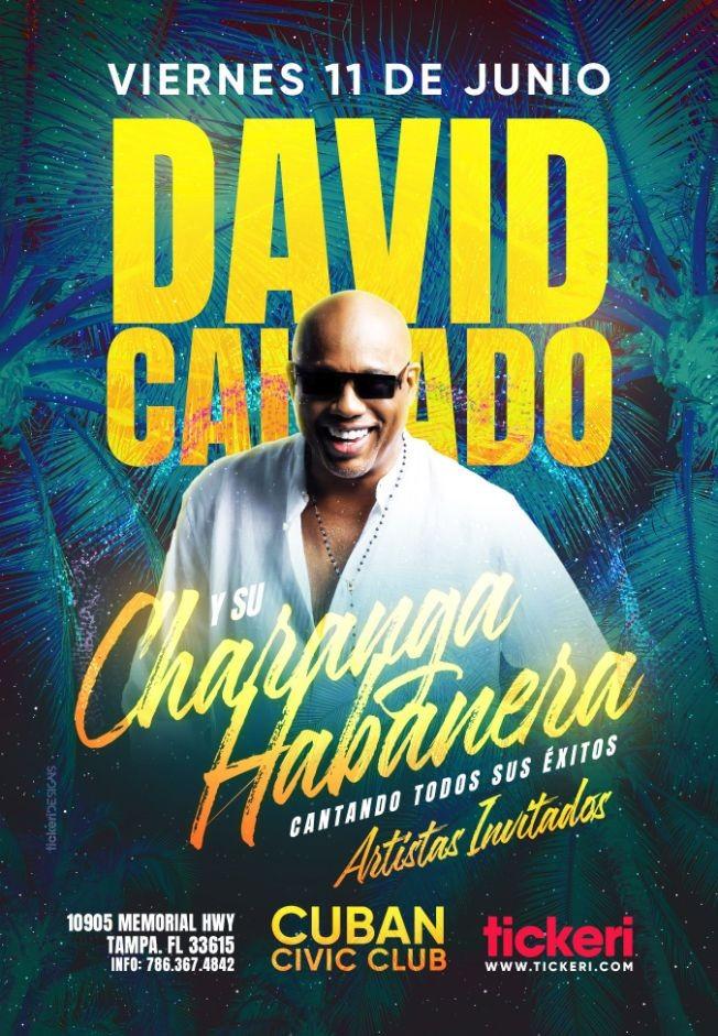 Flyer for Tampa Llega David Calzado y su Charanga Habanera Unico Concierto