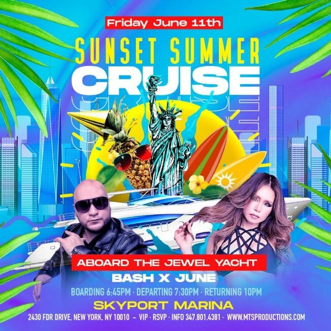 Flyer for Sunset Summer Party Cruise At Jewel Yacht