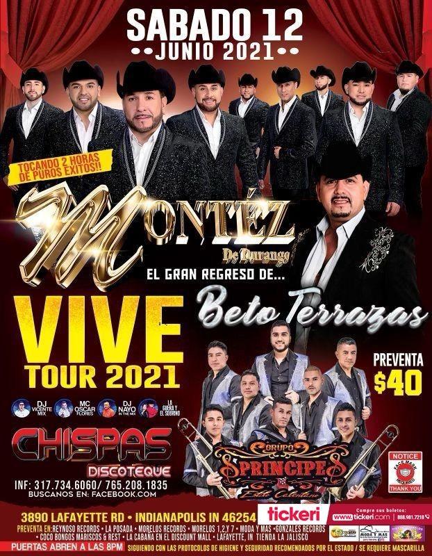 Flyer for Montez de Durango, Beto Terrazas y Grupo Principe en Vivo!