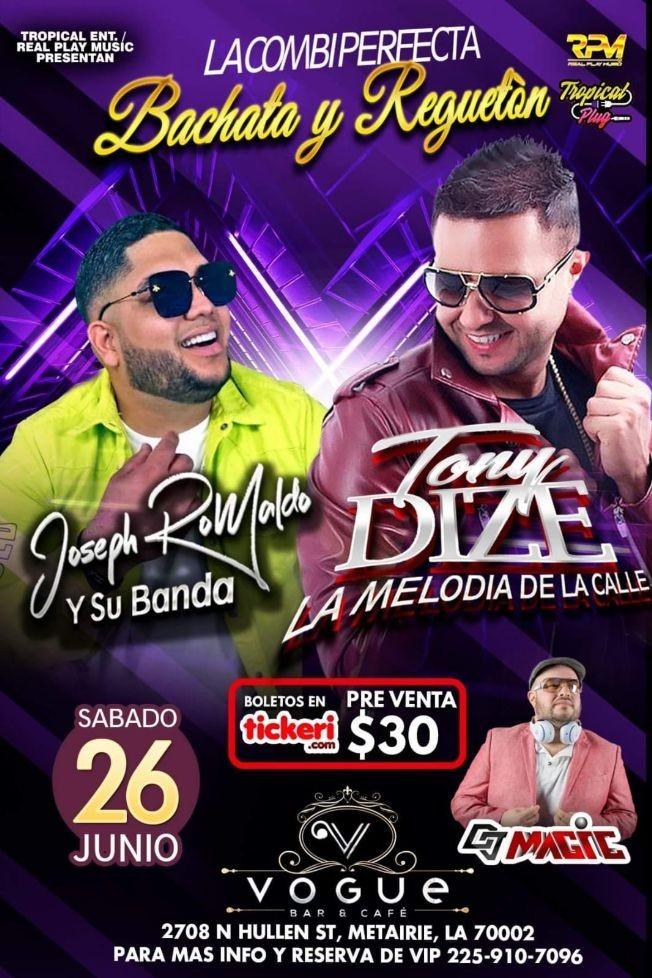 Flyer for Bachata y Reggaeton con Tony Dize y Joseph Romaldo y Su banda en Vivo!