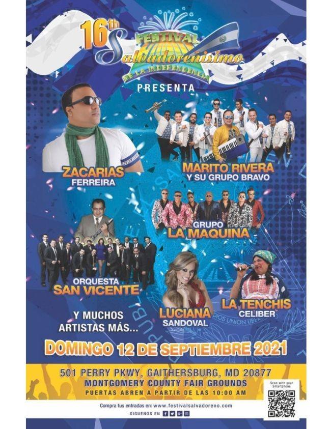 Flyer for 16th FESTIVAL SALVADOREÑISIMO