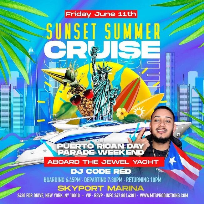 Flyer for Pre Puerto Rican Day Parade Summer Cruise At Jewel Yacht