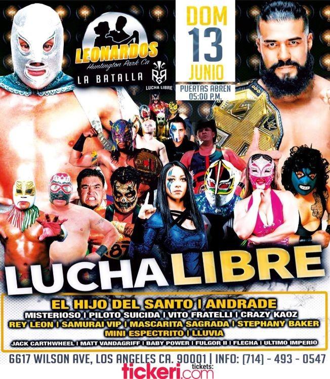 Flyer for El Hijo del Santo, Andrade, Misterioso, Piloto y muchos mas en Lucha Libre en Vivo!