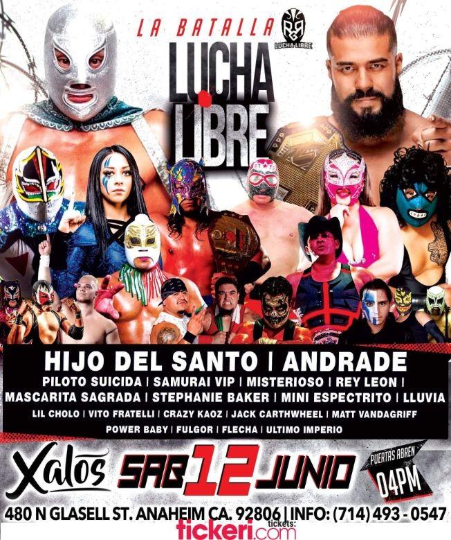 Flyer for La Batalla! Hijo del Santo, Andrade y muchos mas en Lucha Libre en Vivo!