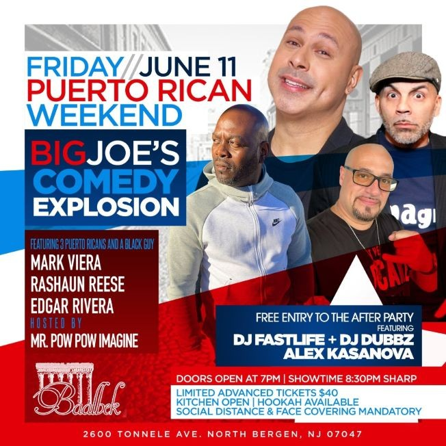 Flyer for Pre Puerto Rican Day Parade Weekend Comedy Explosion At Baablek Lounge