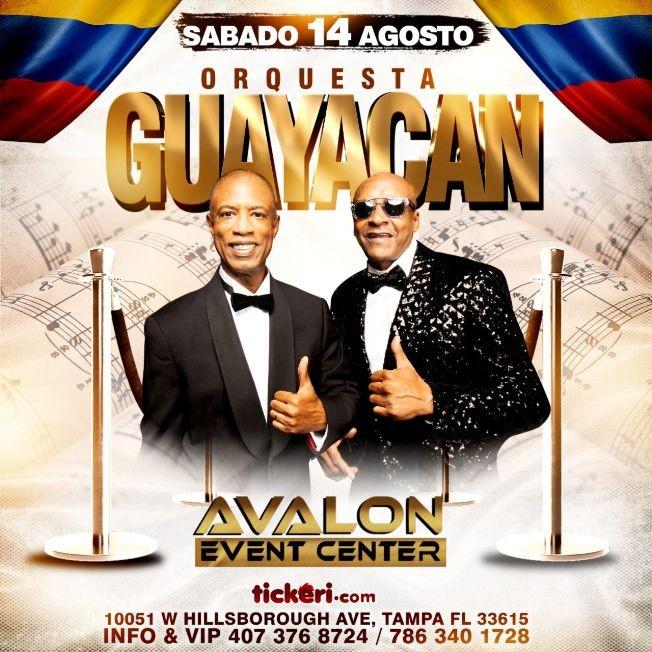 Flyer for GUAYACAN EN AVALON EVENT CENTER SABADO 14. DE AGOSTO