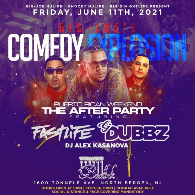 Flyer for Pre Puerto Rican Day Parade Comedy Explosion After Party At Baablek Lounge
