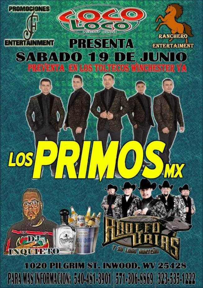 Flyer for Los Primos MX y Adolfo Urias y su Lobo Norteño en Vivo!
