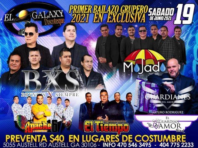 Flyer for BXS Bryndis X Siempre, Mojado, Guardianes del Amor, Apache 16 y El Tiempo de Hugo Gomez en Vivo!