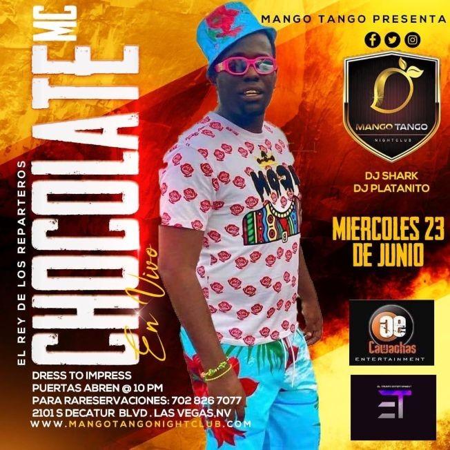 """Flyer for El Rey de los Reparteros """"Chocolate MC"""" en Vivo!"""