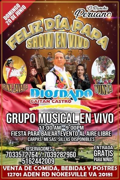 Flyer for DIOSDADO GAITAN CASTRO SHOW EN VIVO