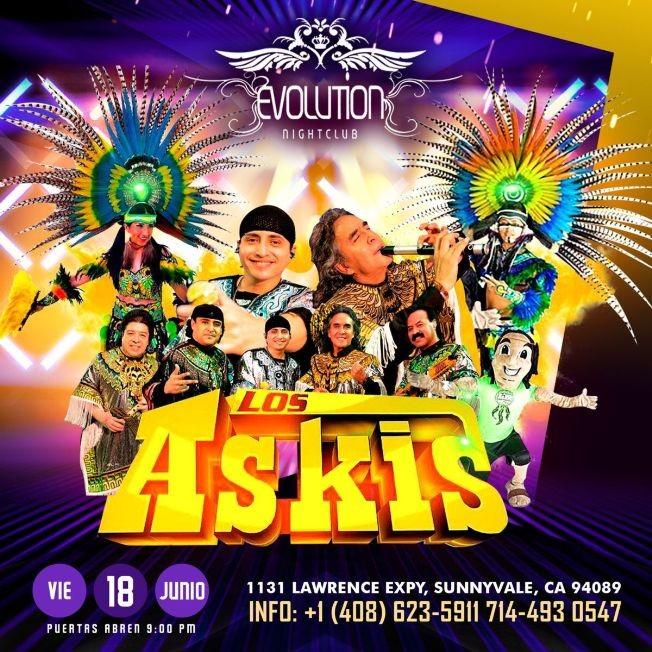 Flyer for Los Askis en Concierto en Evolution Night Club!