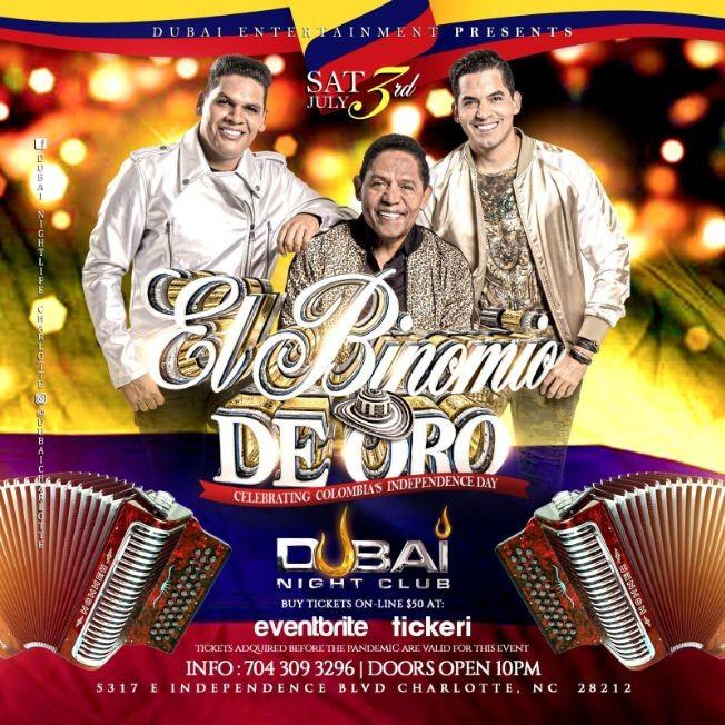 Flyer for Binomio de Oro en Concierto en Dubai Night Club!