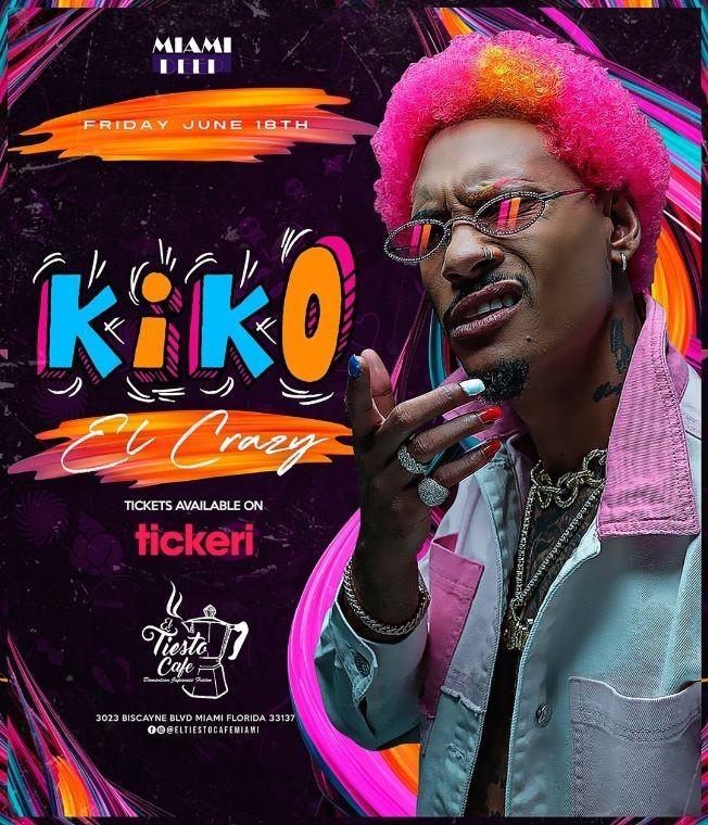 Flyer for Kiko El Crazy en Vivo en El Tiesto Cafe!