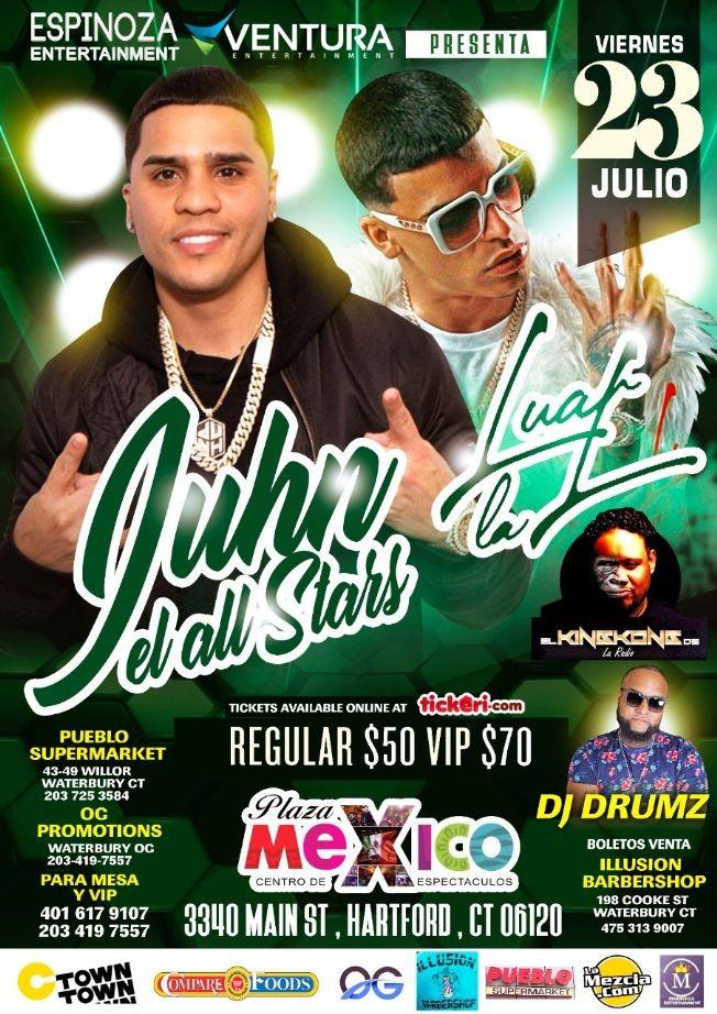 Flyer for Juhn El All Star y Luar La L En Vivo en Plaza Mexico!