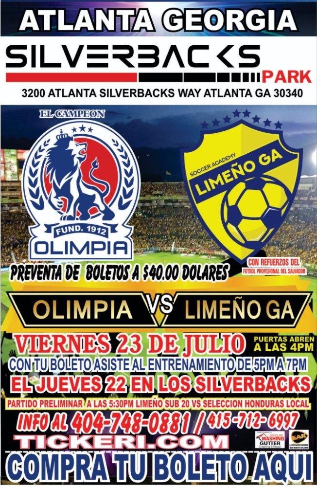 Flyer for Olimpia vs Municipal Limeño en Atlanta!