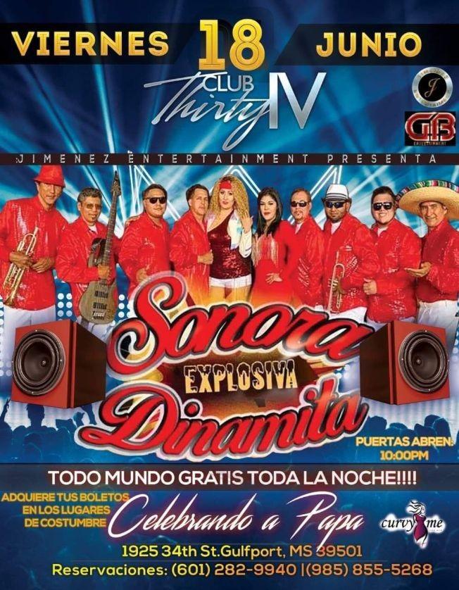 Flyer for La Sonora Explosiva Dinamita en Vivo!