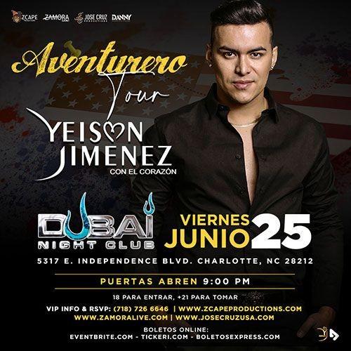 "Flyer for YEISON JIMÉNEZ ""AVENTURERO TOUR"" CHARLOTTE, NC"