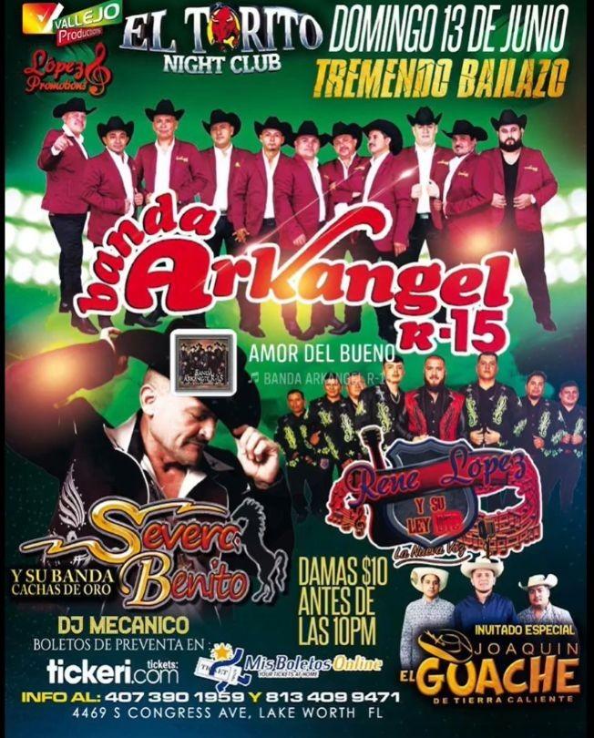 Flyer for Banda Arkangel R-15, Severo Benito y Rene Lopez y su Ley en Vivo!