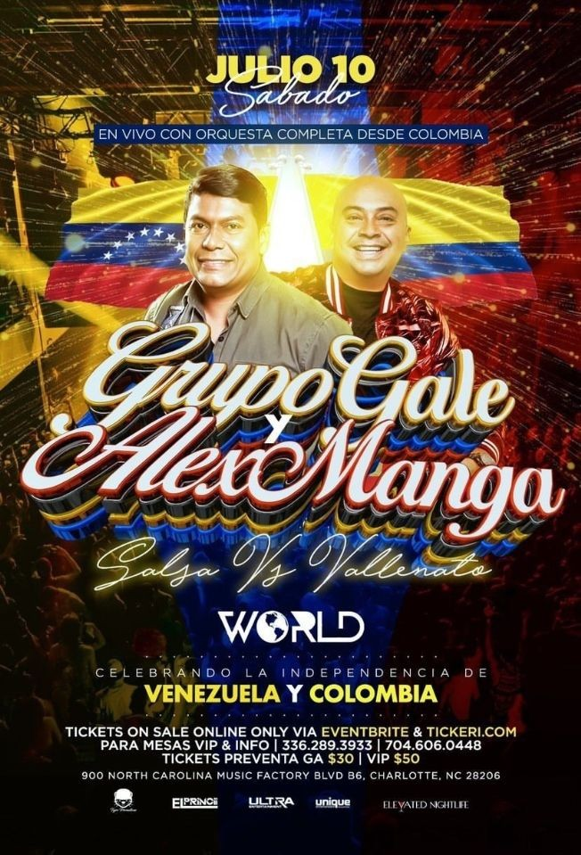 Flyer for Salsa vs Vallenato con Grupo Gale y Alex Manga en Vivo!