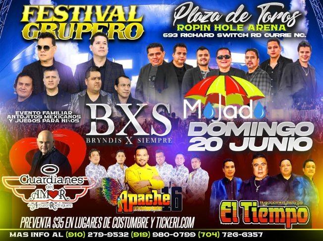 Flyer for Festival Grupero con BXS, Mojado, Guardianes del Amor, Apache 16 y Hugo Gomez y El Tiempo en Vivo!