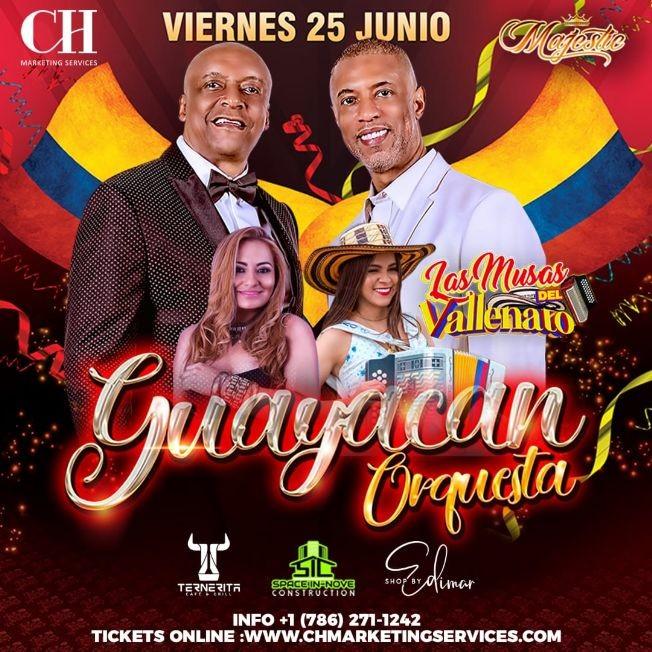 Flyer for Guayacan Orquesta y Las Musas del Vallenato en Orlando