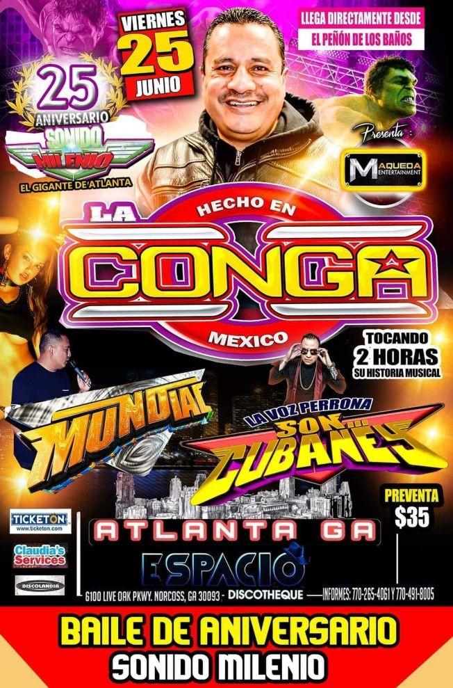 Flyer for Hecho en MexicoSonido La Conga, Mundial, Son Cubaney y Sonido Milenio en Vivo!