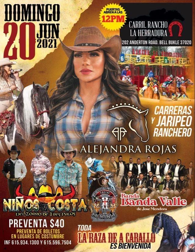Flyer for Carreras y Jaripeo Ranchero junto a Alejandra Rojas, Niños Costa y Banda Valle!