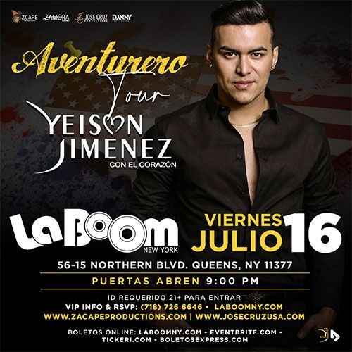 "Flyer for YEISON JIMÉNEZ ""AVENTURERO TOUR"" NEW YORK"