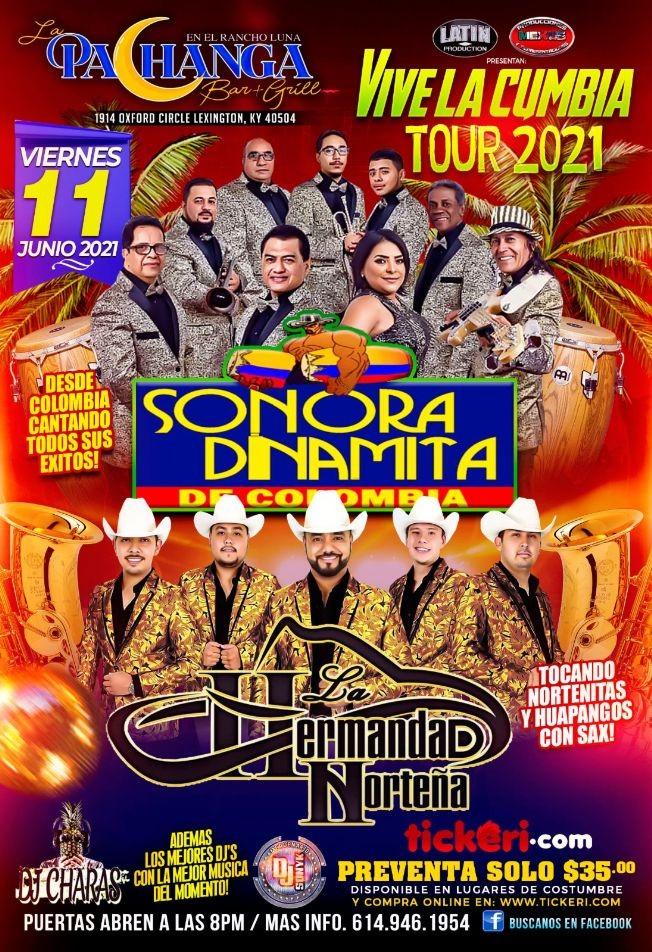Flyer for La Sonora Dinamita y La Hermandad Nortena Tour 2021
