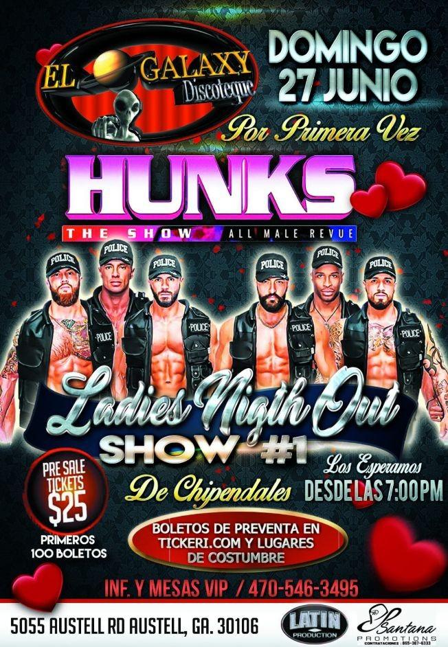 Flyer for Hunks the Show at El Galaxy Discotec