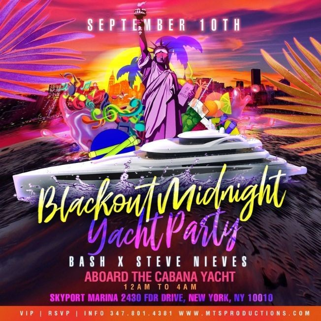 Flyer for Blackout Midnight Yacht Party At Skyport Marina
