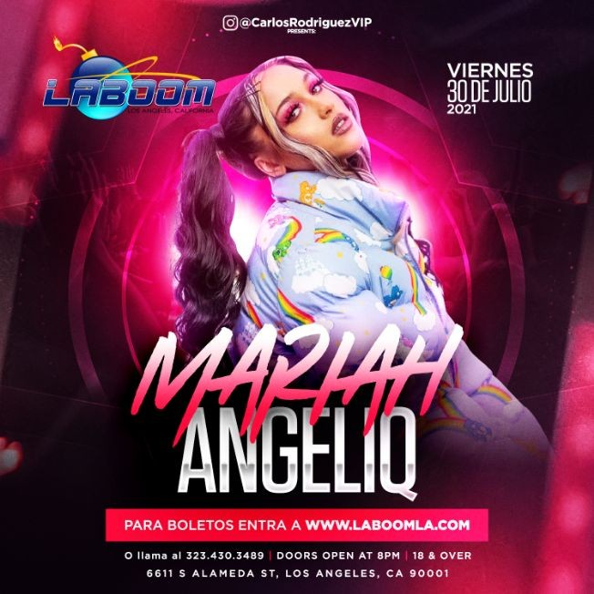 Flyer for MARIAH ANGELIQ en LA BOOM!
