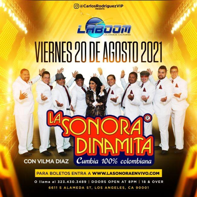 Flyer for LA SONORA DINAMITA en LA BOOM!!