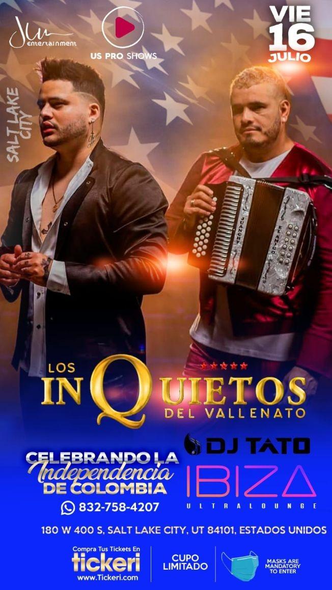 Flyer for Los Inquietos del Vallenato en Concierto!