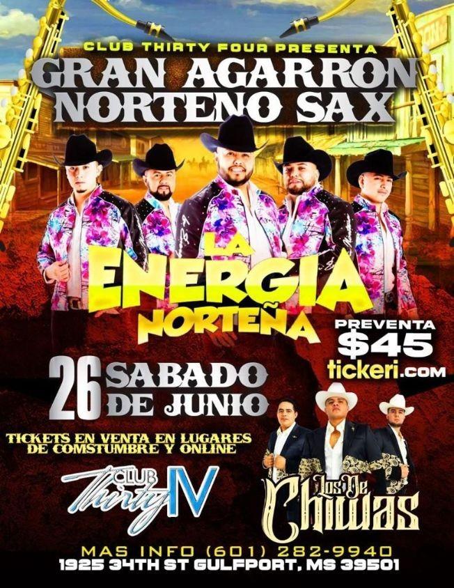 Flyer for GRUPO LA ENERGIA NORTEÑA, GRUPO LOS DE CHIWAS