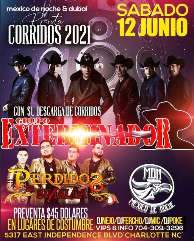 Flyer for Grupo Exterminador y Perdidos de Sinaloa en Vivo!