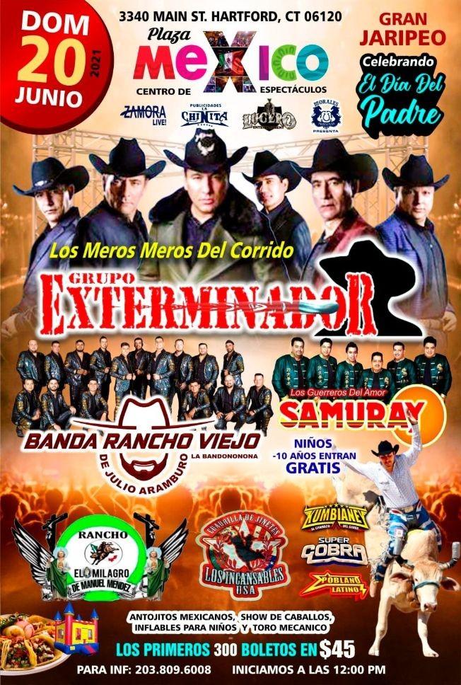 Flyer for Grupo Exterminador, Banda Rancho Viejo de Julio Aramburo y Samuray en Vivo!