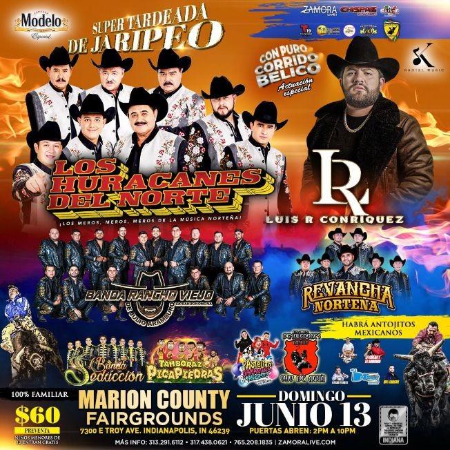 Flyer for Los Huracanes del Norte, Banda Rancho Viejo, Revancha Norteña, Banda Seduccion en Vivo!