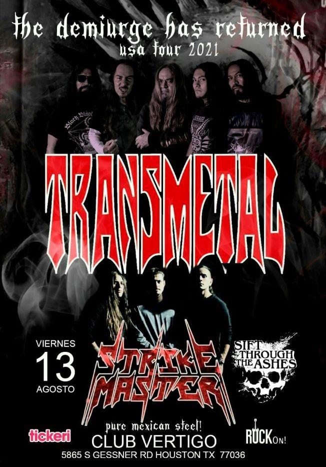 Flyer for Transmetal y Strike Master en Concierto en Club Vertigo!