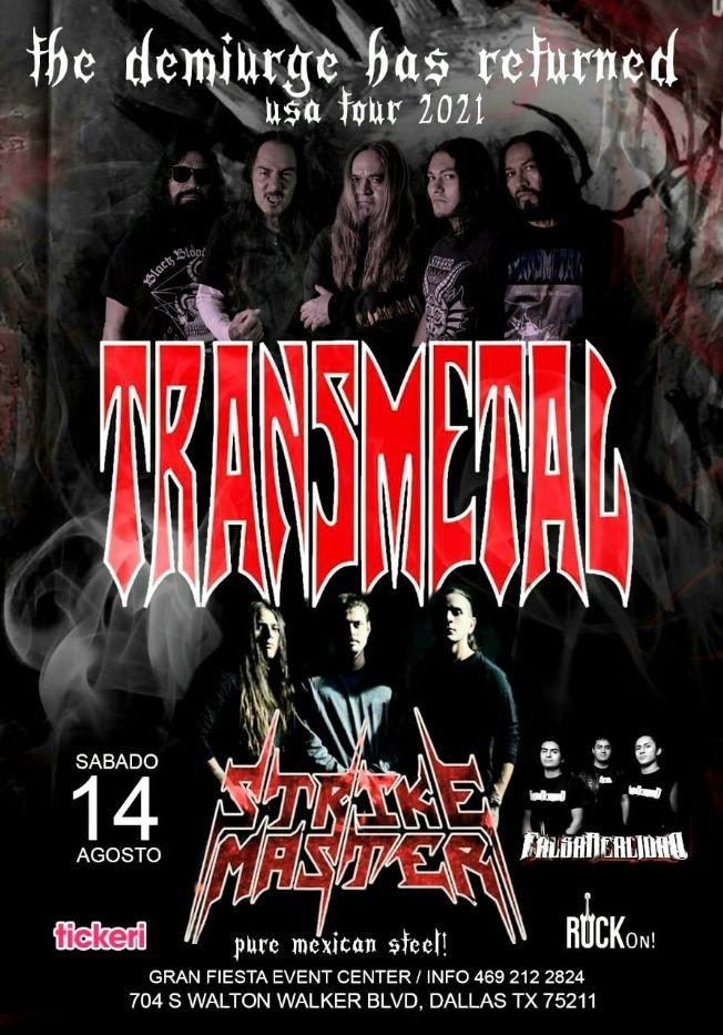 Flyer for Transmetal y Strike Master en Concierto en Gran Fiesta Event Center!