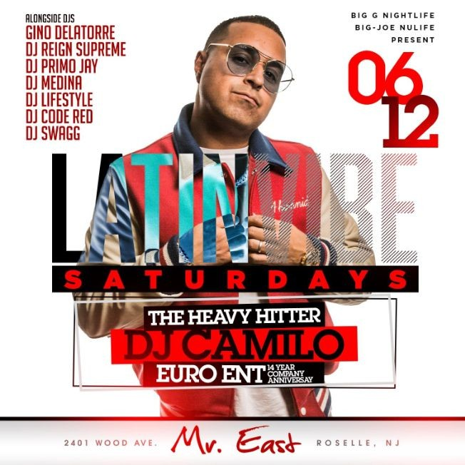 Flyer for Latin Vibe Saturdays Pre Puerto Rican Day Parade DJ Camilo Live At Mister East